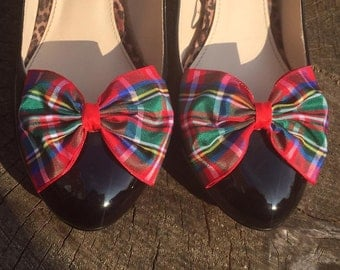 Royal Stewart Tartan Shoe Clips Plaid Shoe Clips Bows for your Shoes Accessories Bow Clips