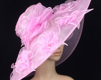 Pink Kentucky DerbyHat,Derby Hat,Church Dress Hat ,Bridal Wedding Hat,Tea Party Hat Ascot