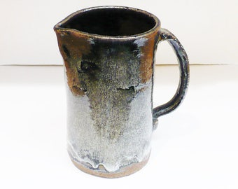 Pottery Pitcher, Ceramic Pitcher, Hand Made, Drip Glaze, Studio Art, One of a Kind,