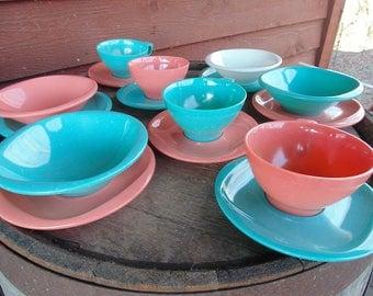 Boontonware Dishes. Boontonware Melamine. Boonton Dishes. Melmac Dishes. Service for 4. breakfast set. 1950s RV. Aqua Salmon Pink White