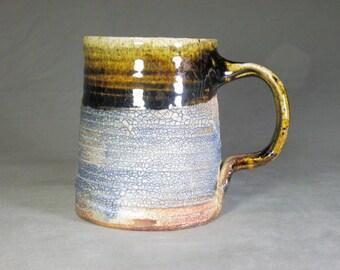 Coffee cup.  Rustic mug. Wheel thrown cup.  Large mug. 14 oz cup. Soda fired mug
