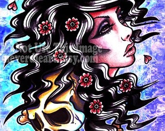 Girl and Skull Tattoo | Limited Edition | Art Print