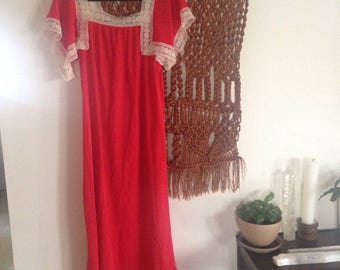 Red and White Crochet Thin Silky Muu muu