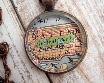 Custom Map Jewelry, Central Park New York City Manhattan Vintage Map Pendant Necklace Personalized Jewelry Map Cuff Links, Bridesmaids Gifts