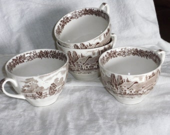 Vintage Transfer Ware Coffee Cups