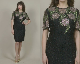80s Trophy Dress Black Pink Flowers Scala Sequin Dress Silk Beaded Open Back 1980s Cocktail Party / Size M Medium