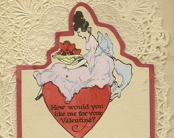 Delightfully Romantic Delicate Lacey Vintage Valentine's Day Card – Elegant Lady Sits on Red Heart With a Bowl of Heart