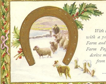 Interesting 1920s Magazine Subscription Confirmation Christmas Greetings Farm and Fireside National Farm Paper Horseshoe Shepherd and Sheep
