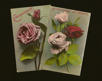 Pair of RPPC Pink and Red Roses Antique Postcards – Lovely Floral Postcards Suitable For Framing 1912