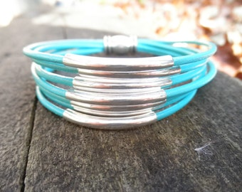 Multi-Strand Turquoise Leather Cuff Bracelet with Silver Tube Beads