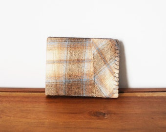 Upcycled Tan and Blue Plaid Wool Bifold with Grey and Navy Interior