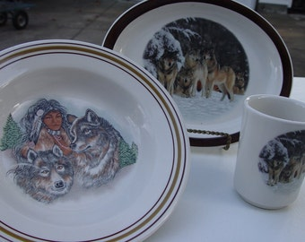 Vintage Homer Laughlin Table Ware with Wolf Decals USA