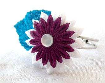 Cute Purple Flower Bracelet with Turquoise Velvet Leaf Statement Jewelry