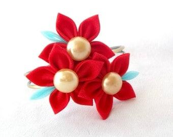 Red Flower Statement Bracelet Adjustable Wearable Fiber Art