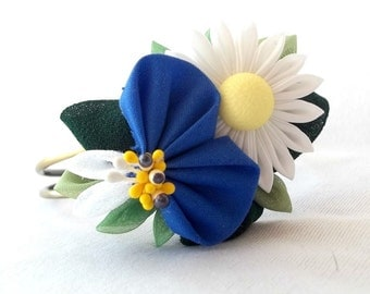 Fabric Flower Wearable Fiber Art Statement Bracelet Adjustable Kanzashi Corsage
