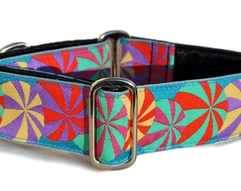 "Beach Balls Jacquard in Turquoise - Martingale Dog or Buckle Dog Collar - 1.5"" Inch"