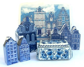 Vintage Delft Blue Canal House Decorative Cutting Board, Holland Souvenir, Blue Room Kitchen, Cheese Snacks
