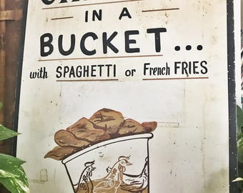 Vintage Handpainted Bucket of Fried Chicken Restaurant Sign