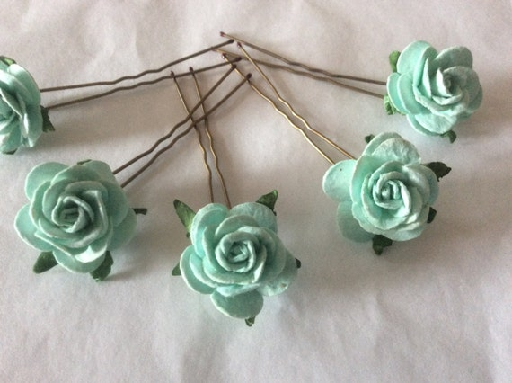 Hairpins x 5 Paper Roses. Mint Green Bridal.