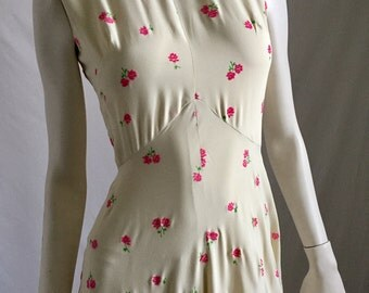 80's Does the 40's Ivory Sleeveless Maxi with Sweet Mini Rose Pattern High Neck and Amazing Circle Skirt