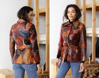 Quilted Leather Jacket XS/S • 70s Leather Jacket • Patchwork Leather Jacket • Leather Jacket Vintage • 70s Jacket • Boho Jacket  | O350
