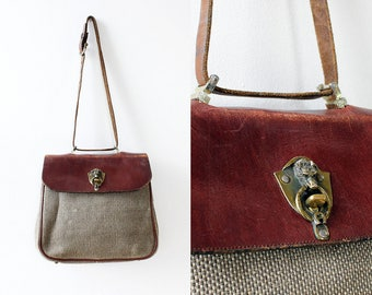 70s Purse • Etienne Aigner Purse • Oxblood Leather Shoulder Bag • Etienne Aigner Handbag • Tweed Purse • Vintage Leather Purse | B769