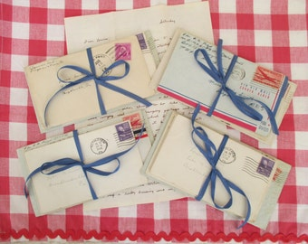 Vintage Handwritten Love Letters - 1940's - Sweetheart Ephemera - 4 in Lot - Mixed Media, Altered Art