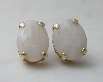 Vintage Oval Cabochon Natural White Opal Pierced Earrings Studs Set in Solid 14k Yellow Gold