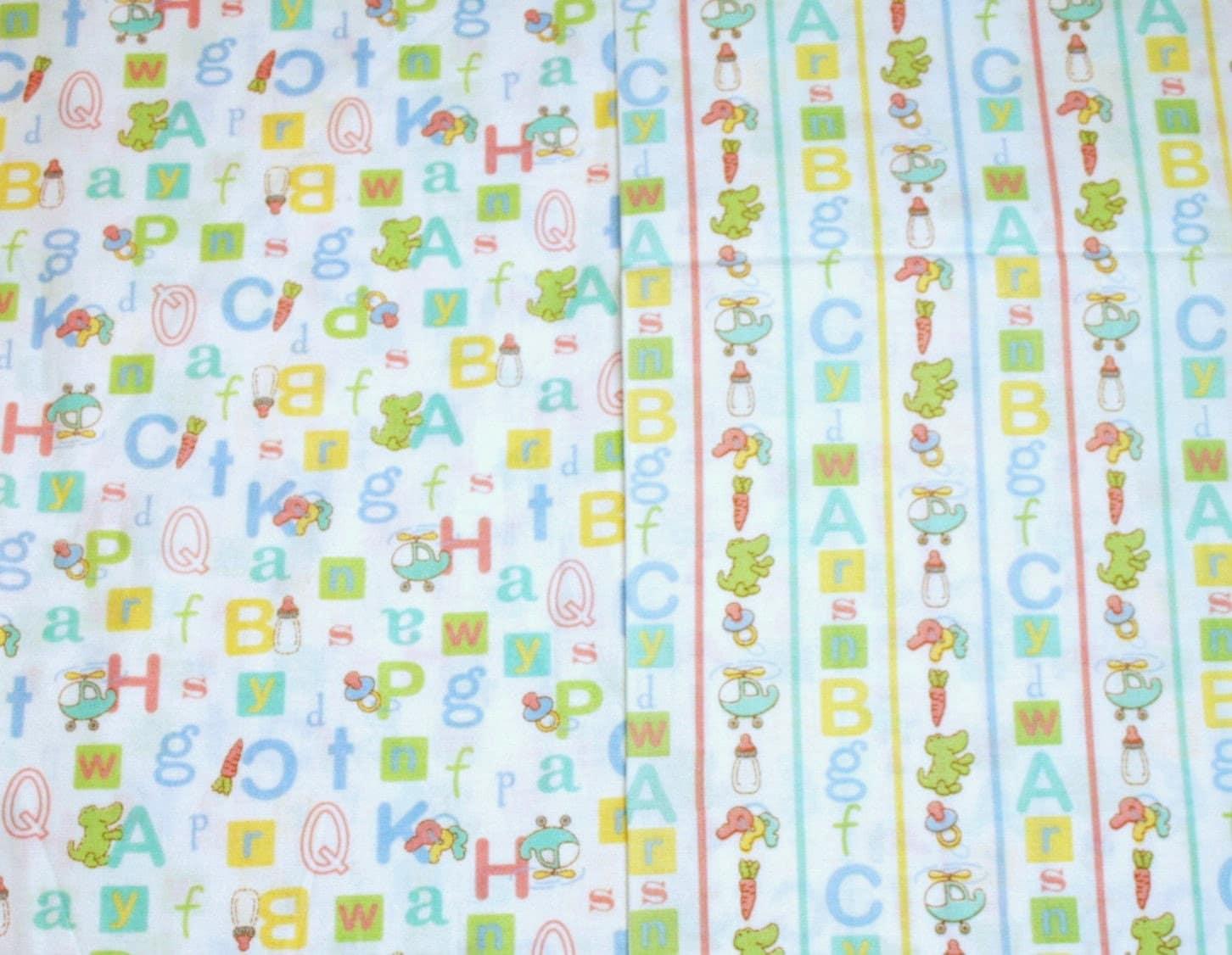 Abc nursery fabric sweet baby boy abcs oop new fabric 2 for Boy nursery fabric