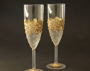 Wedding Glasses, Gold Glasses, Pearls Champagne Glasses, Champagne Flute, set of 2