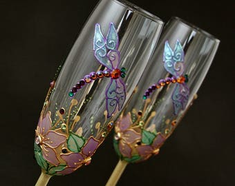 Dragonfly Glasses, Champagne Flutes, Wedding Glasses, Hand Painted, Set of 2