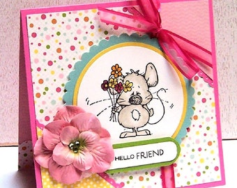 Hello Friend Mouse with Flowers Handmade Greeting Card