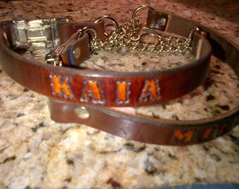 Extra Large Leather Martingale Dog Collar with Snap Buckle and Name