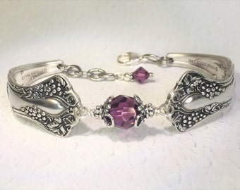 "Antique Spoon Bracelet, Spoon Jewelry, Amethyst Swarovski Crystals, ""Vintage Grapes"" 1904, Wine Lover Gift"