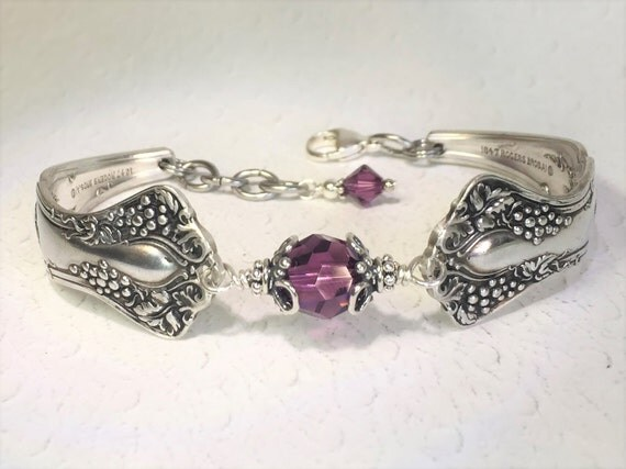 "Antique Spoon Bracelet, Amethyst Crystals, ""Vintage Grapes"" 1904, Wine Lover Gift"