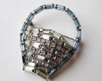 Vintage 50s 60s Sparkling Ice Blue & Clear Rhinestone Novelty Flower Basket Brooch Pin
