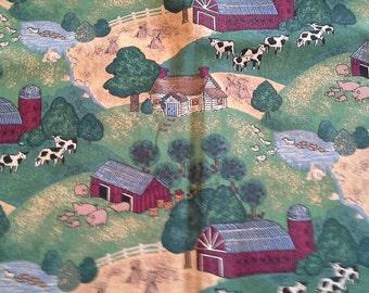 Farm Scene Novelty Print Cotton Fabric 1 1/3 Yards X0714