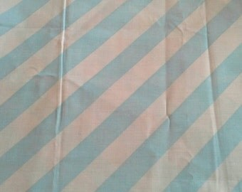 Grey and Blue Diagonal Striped Cotton Polyester Blend Fabric 2 1/2 Yards Extra Wide X0776