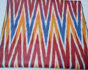 Uzbek handwoven multicolor cotton chevron  ikat fabric by meter. F040
