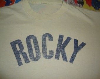 Vintage 70's ROCKY Balboa Boxing Movie Promo Original Soft Thin T Shirt Men's Size L