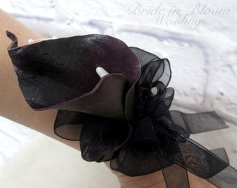 Plum black Calla lily Wrist corsage, Black flower Wedding corsages, Prom