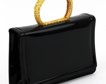 Miss Lewis Evening Bag- Black Patent Leather Purse with Gold Tone Bracelet Handle Formal Handbag- Box Purse