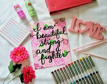 I Am A Fighter | breast cancer awareness | wall art | wall sign | office decor | gift | mom gift | floral art