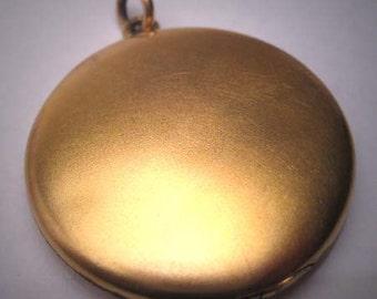 Antique Gold Locket Necklace Vintage Victorian Art Nouveau Round