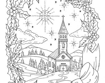 christmas coloring page instant download adult coloring christian - Adult Christmas Coloring Pages