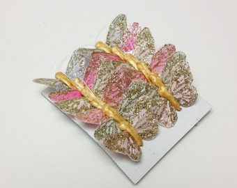 Feather Butterflies -12 Tiny Vintage Inspired Butterfly Embellishments in Soft Pastels - Artificial Butterflies