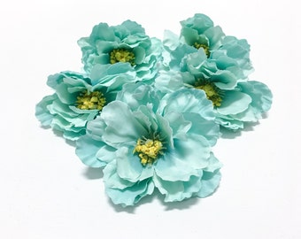 5 Small AQUA MINT Green Peonies  - 3.5 Inches - Artificial Flowers, Silk Flowers, Flower Crown, Hair Accessories, Millinery
