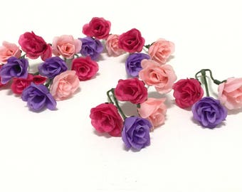 24 SMALL Sweetheart Roses Assorted Colors - MINIATURE Roses, Flower Crown, Wedding Flowers, Hair Accessories, Millinery, Artificial Flowers