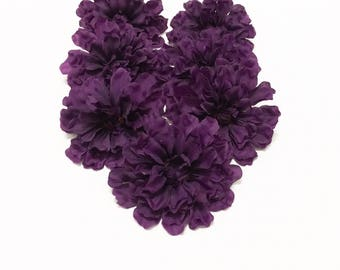 7 Budget Quality Purple Zinnias - Artificial Flowers, Silk Flowers, Flower Crown, Wedding Flowers, Millinery, Wreath, Hair Accessories, Hat