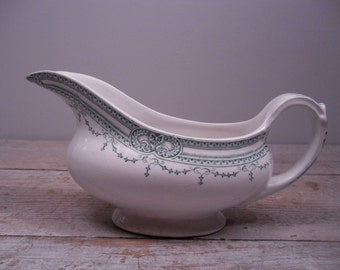 vintage gravy boat / transferware / bristol pottery / england